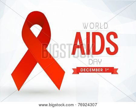 1st December, World Aids Day concept with shiny red ribbon of aids awareness.