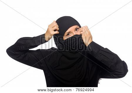 Muslim woman isolated on the white