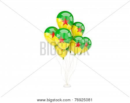 Flying Balloons With Flag Of French Guiana