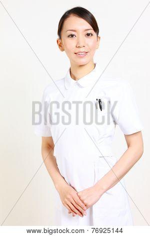 Pleasant young Japanese nurse