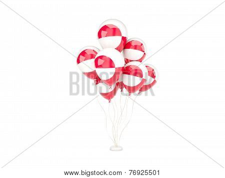 Flying Balloons With Flag Of Greenland