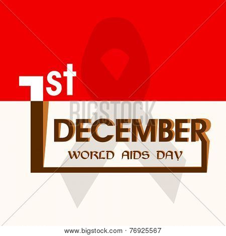 1st December World Aids Day awareness concept with stylish text on red and white background.