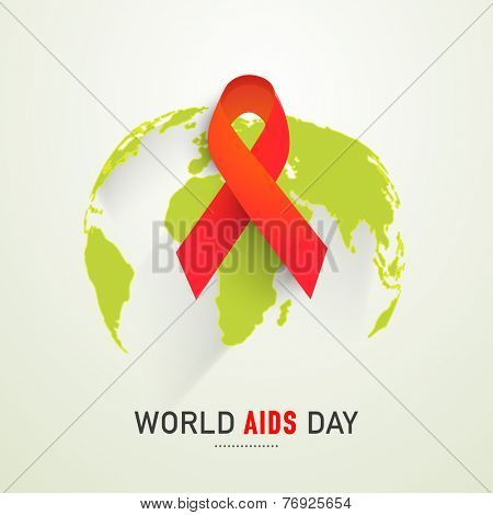 Red ribbon of aids awareness on globe for 1st December World Aids Day.