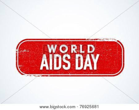 Label design for World Aids Day concept on shiny blue background.