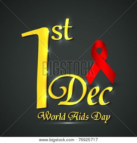 Shiny text of 1st December with glossy red ribbon of aids awareness for World Aids Day.