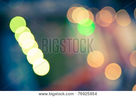 Blur Of Bokeh Light  In Festival Vintage