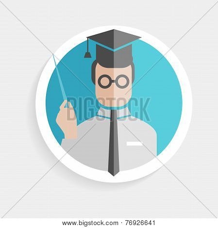 Vector round paper icon successful man