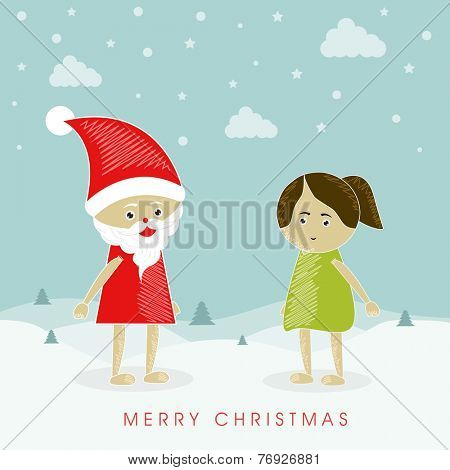 Merry Christmas celebration poster, banner or flyer with Santa Claus and cute little girl on snow covered winter background.