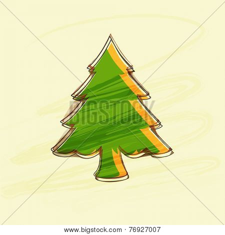 Beautiful creative X-mas tree on beige background for Merry Christmas and other occasion celebrations.