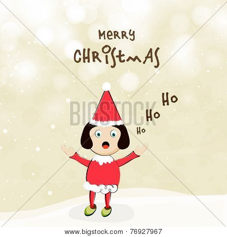 Cute little girl in Santa dress saying Ho Ho Ho and celebrating Merry Christmas on shiny background, can be use as poster, flyer or banner.