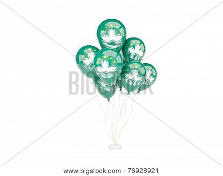 Flying Balloons With Flag Of Macao
