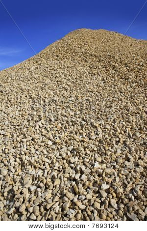 Crushed Pound Stone Mound Quarry Open Blue Sky