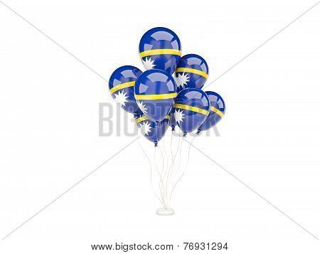 Flying Balloons With Flag Of Nauru