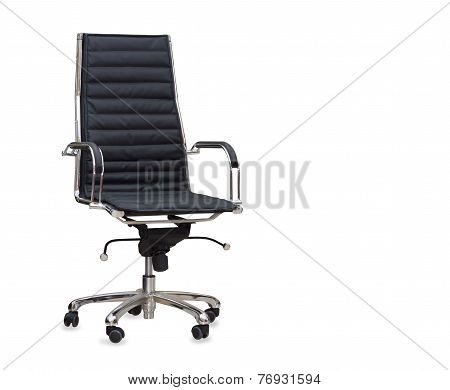 The Office Chair From Black Leather. Isolated