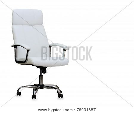 Modern Office Chair From White Leather. Isolated