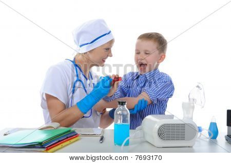 Boy Is Afraid Of Injections. Isolated On White Background