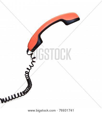 Vintage Orange Telephone Handset Isolated Over White Background