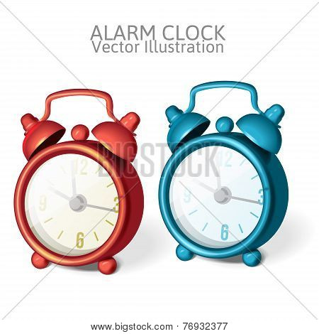 set of Classic alarm clock with bells on top