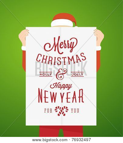 Flat Style Person Wearing Santa Suit Holding A1 Poster With Vintage Typography Christmas Greetings