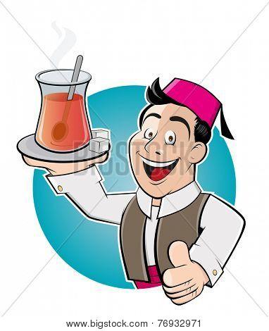 happy cartoon man is serving turkish tea