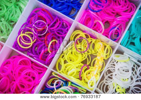 Box With Many Colorful Rubber Bands For Rainbow Loom