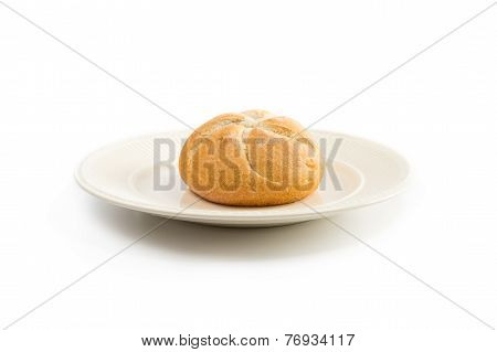 One Kaiser Roll On An Off-white Plate