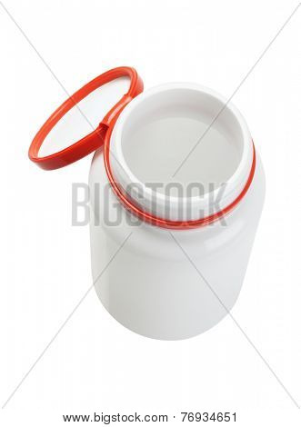 Elevated View Of Open Plastic Medicine Bottle On White Background