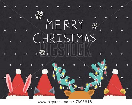 Merry Christmas Greeting Graphic With Animals