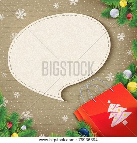 Blank Speech Bubble Came Out From Christmas Bag