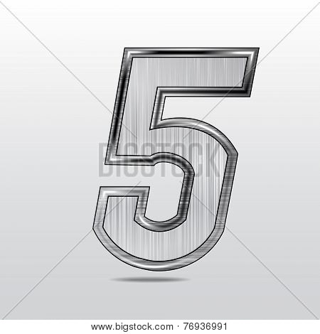 Vector image metallic figure  five on  grey background.