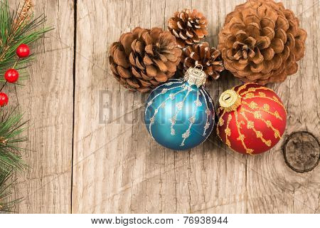 Colorful Christmas Baubles And Pine Cones