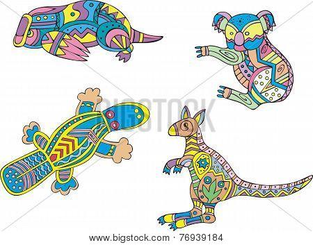 Motley Koala, Platypus And Kangaroo