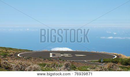 Heliport In The Mountain. Spain. Canary Islands. La Palma