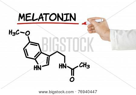Chemical formula of melatonin on a white background