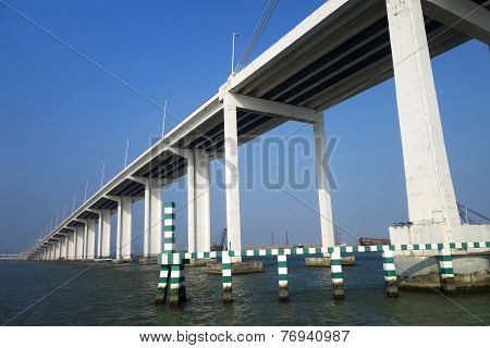 The View Of Bridge Of Friendship From The Low Angle In Macau
