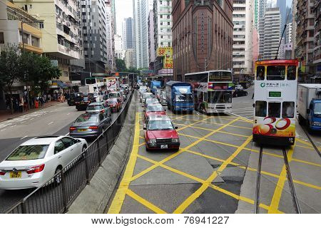 Unidentified People Travel By Using Various Type Of Public Transport In Hong Kong