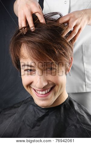 Beautiful healthy hair, the man at the hairdresser
