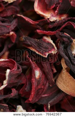 Hibiscus tea petals close-up