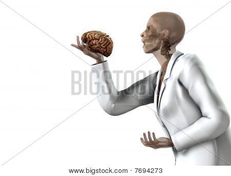 Anatomical Women Holding Her Brain