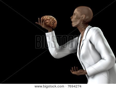 Anatomical Women Holding Her Brain