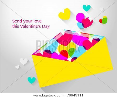Envelope With Hearts For Valentine's Day