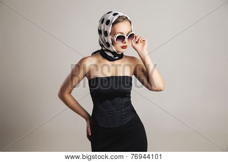 young retro styling caucasian woman posing