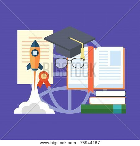 Potential Of Education Concept. Flat Design Stylish.