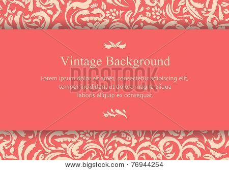 Vintage Pinkish Card With Floral Ornament