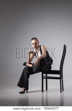 Mafiosi woman. Fashion photo. Retro style