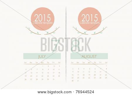 2015 calendar, monthly calendar template for July and August. Vector illustration.