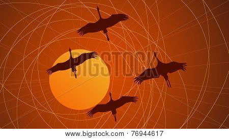 Abstract Cartoon Illustration Flock Of Cranes.