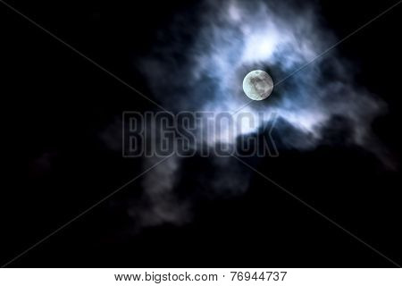 Moon In Cloud Movement.