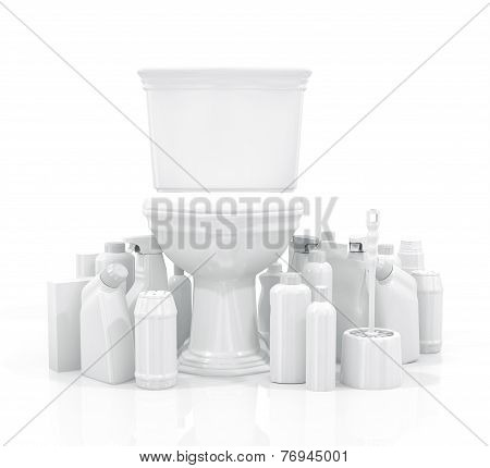 White Toilet Bowl And Cleaning Supplies