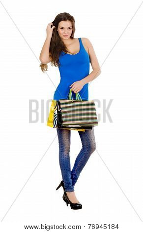 Fashion Shopping Model Girl Full Length Portrait. Beauty Woman With Shopping Bags Isolated On White